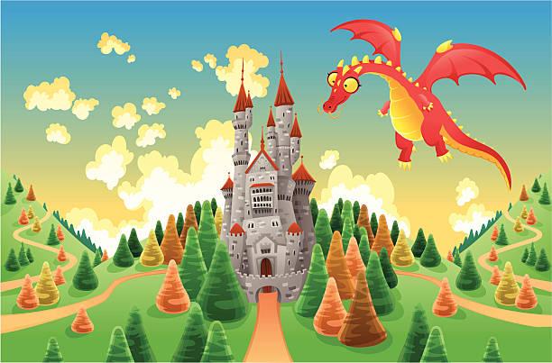 stockillustraties, clipart, cartoons en iconen met panorama with medieval castle and dragon. - mens gemaakte ruimtes