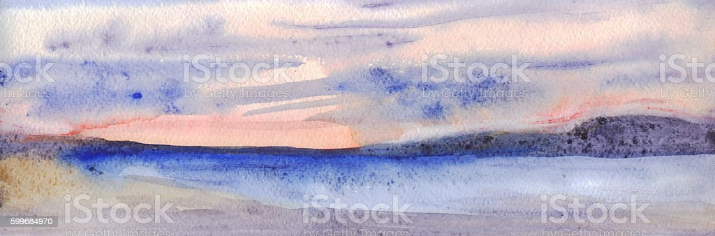 Panoramic evening skyline. Sky, mountains, sea, beach. Watercolor painting vector art illustration