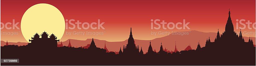 panoramic view of Bagan in Myanmar vector art illustration