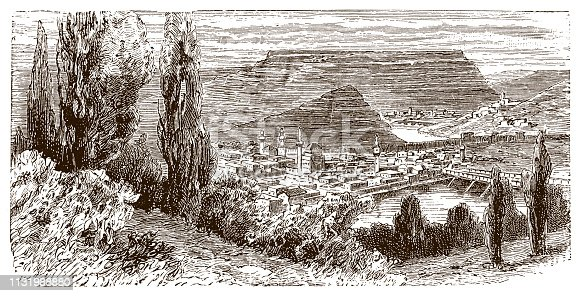 Illustration of a Panoramic view of city of Veliko Tarnovo, Bulgaria