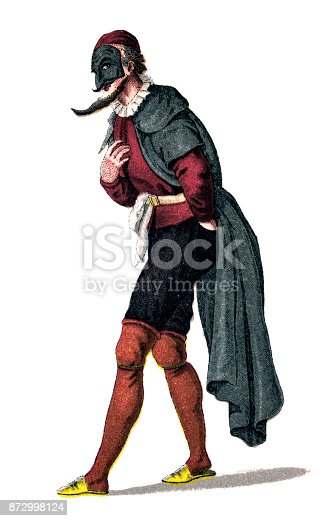 Illustration of a Pantalone, Pantaloon ,is one of the most important principal characters found in commedia dell'arte