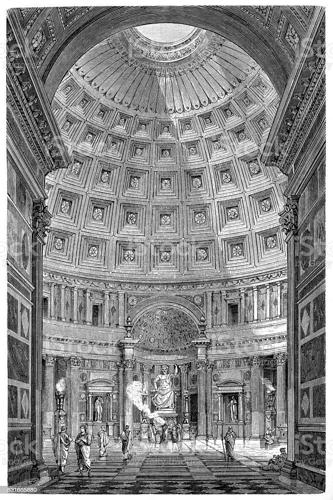 Pantheon in Rome, interior view vector art illustration