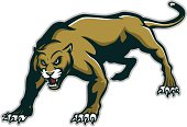 """""""Logo style panther mascot, colored version. Great for sports logos & team mascots."""""""