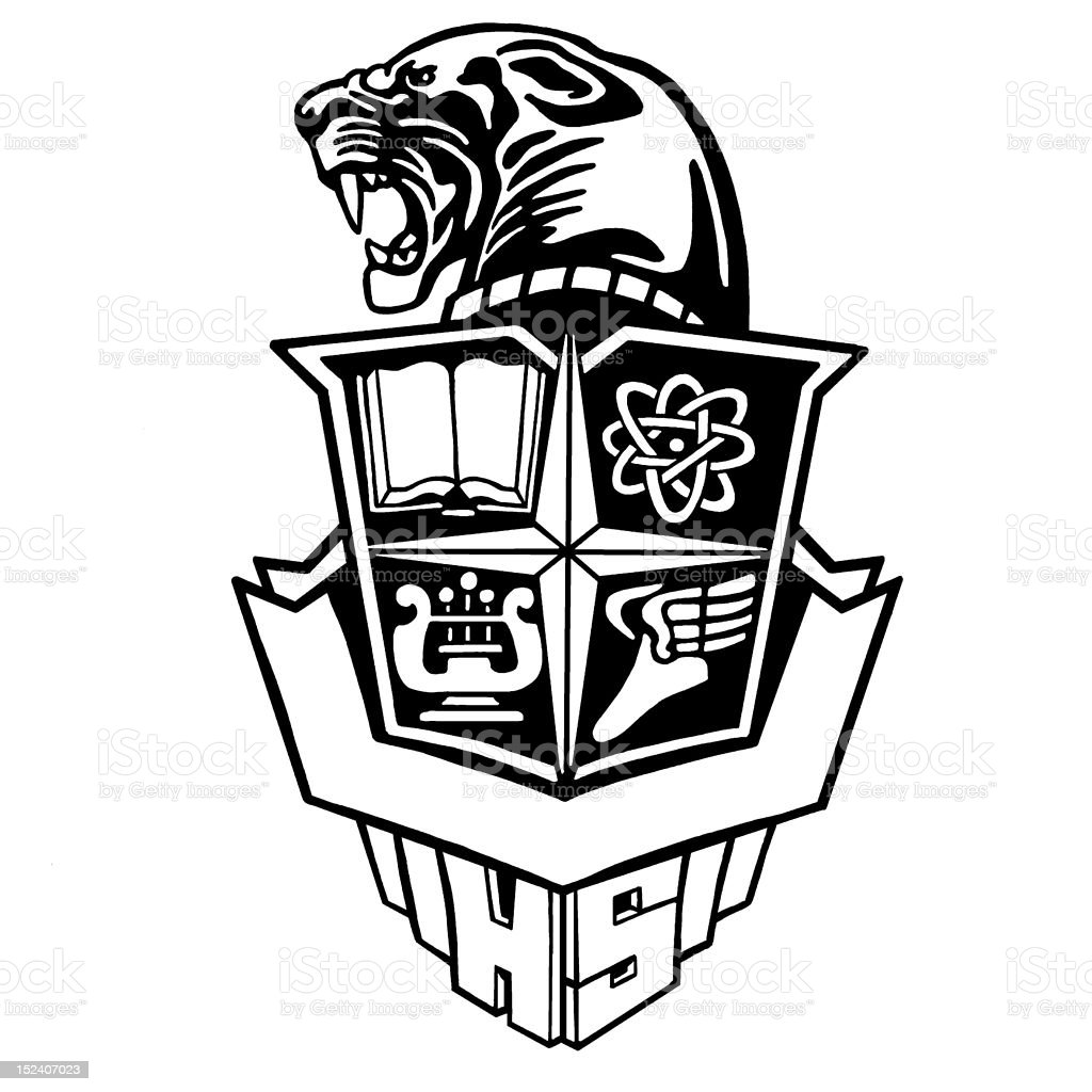 Panther School Crest royalty-free stock vector art