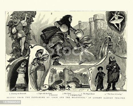 istock Pantomime Jack and the Beanstalk, Covent Garden Theatre, Victorian 19th Century 1328666533