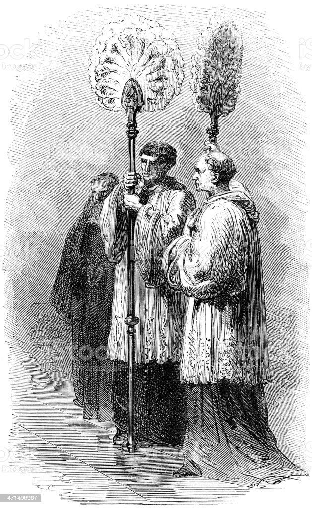 Papal Flabellum carriers old illustration vector art illustration