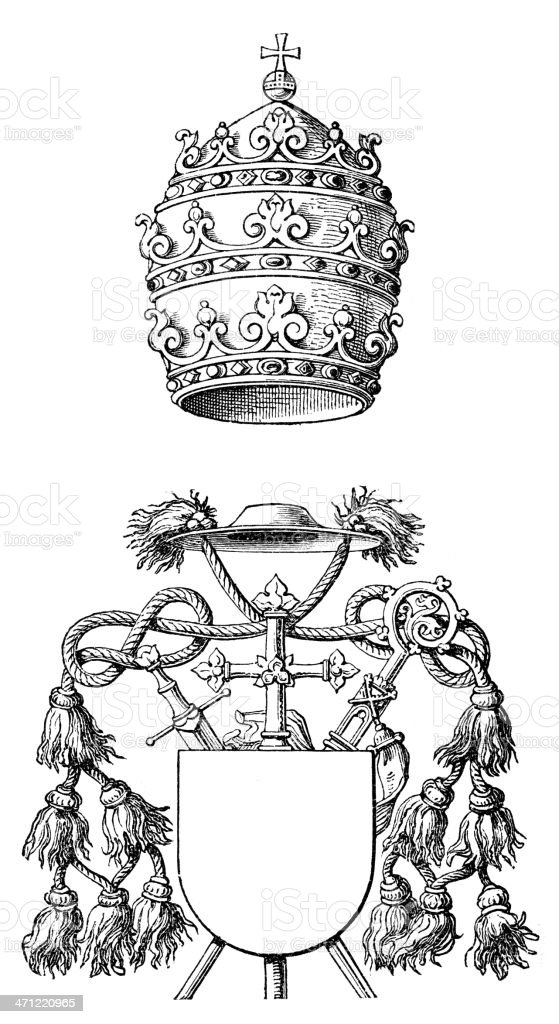 Papal Tiara and Mitre royalty-free stock vector art