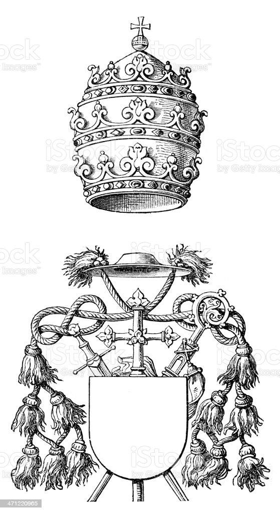 Papal Tiara and Mitre vector art illustration