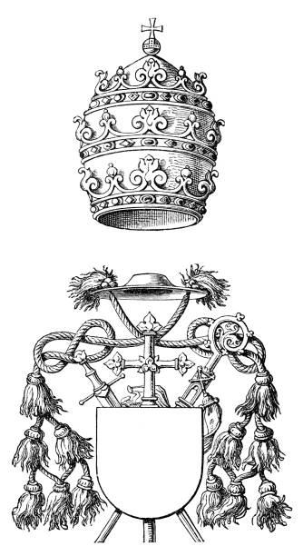 stockillustraties, clipart, cartoons en iconen met papal tiara and mitre - mijter