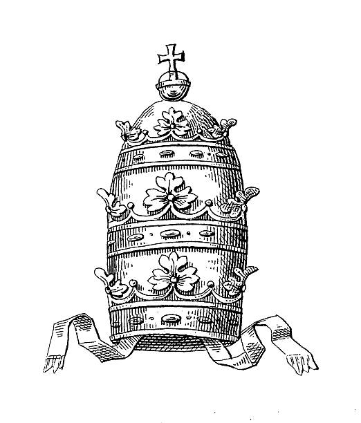 stockillustraties, clipart, cartoons en iconen met papal tiara | historic symbols of monarchy and rank - mijter