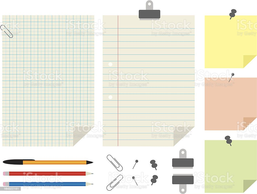 Paper and stationery set royalty-free paper and stationery set stock vector art & more images of adhesive note