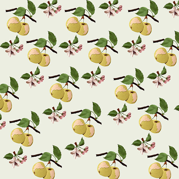 stockillustraties, clipart, cartoons en iconen met paper apple pattern - cardboard texture