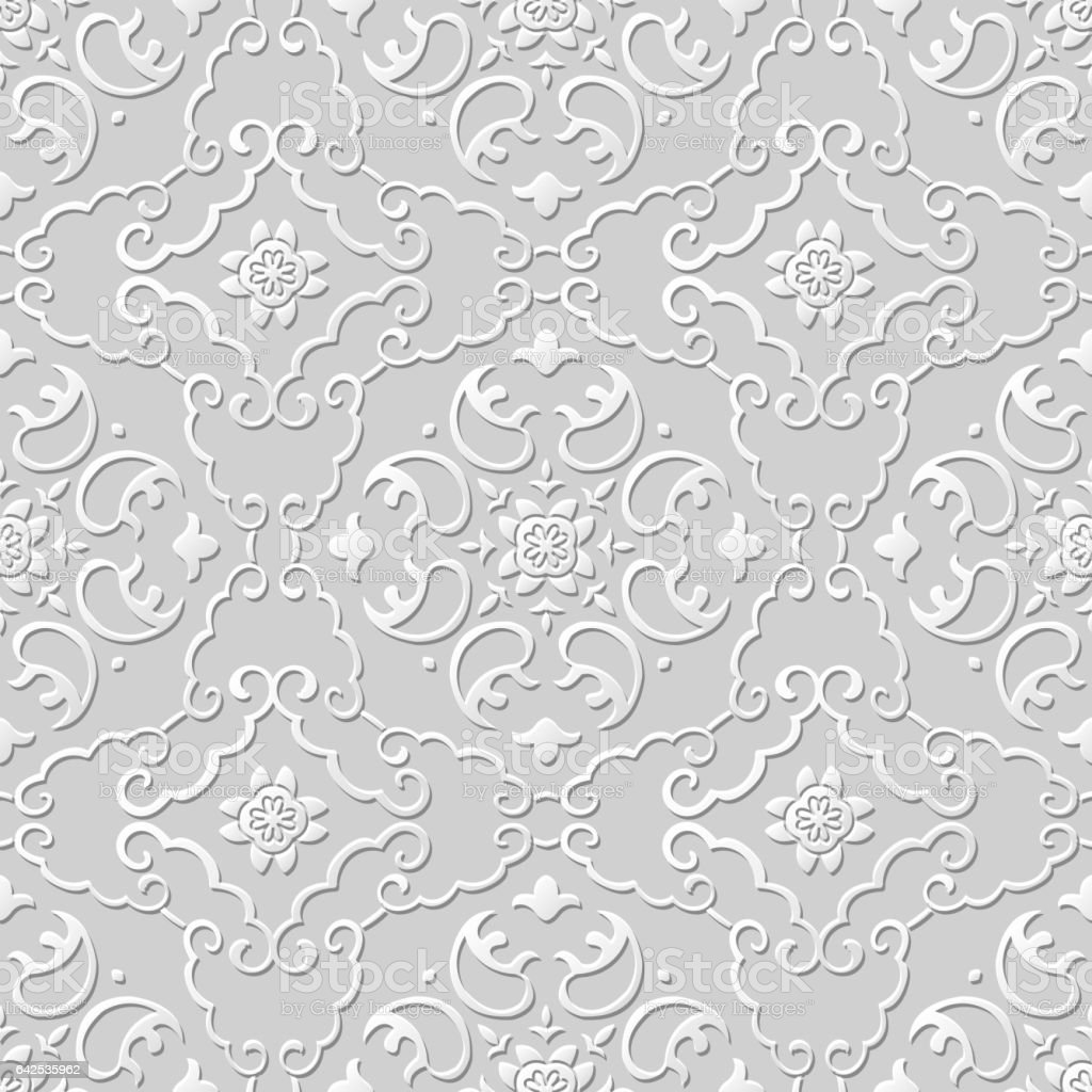 3d Papierkunst Muster Spirale Kreuz Rahmen Blume Stock Vektor Art ...