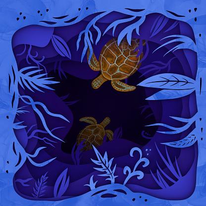 Paper art underwater ocean with turtle silhouette.