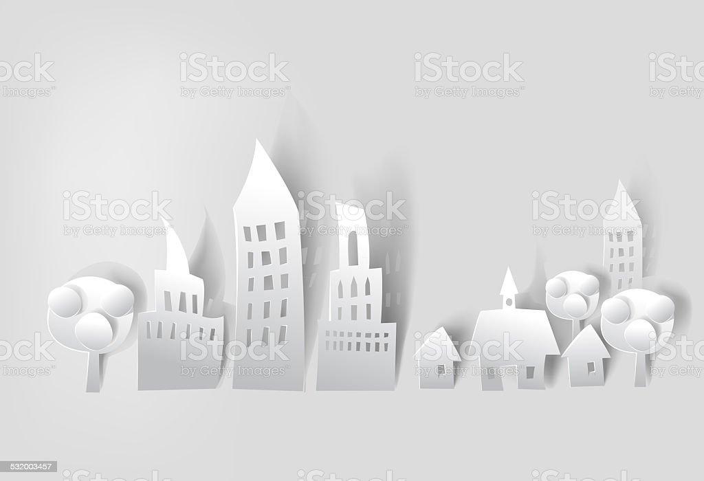 Paper background, City street vector art illustration