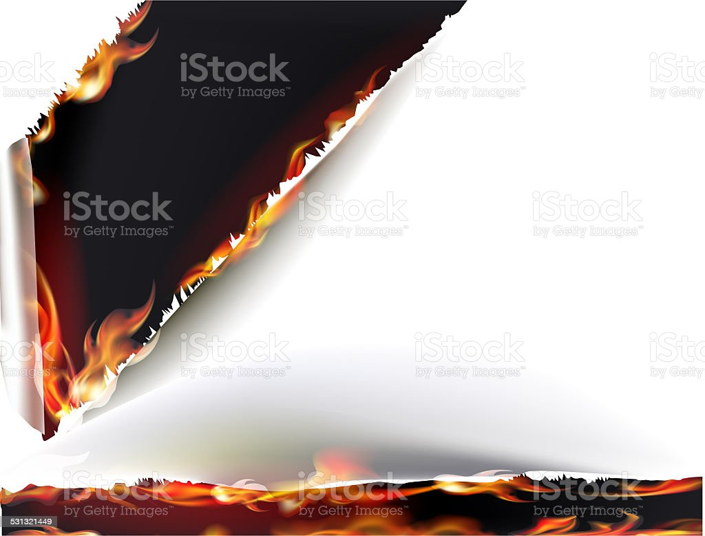 Paper background with flames vector art illustration