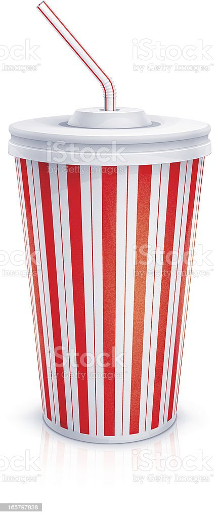 Paper cup with tube vector art illustration
