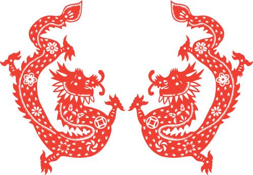Paper cut dragon