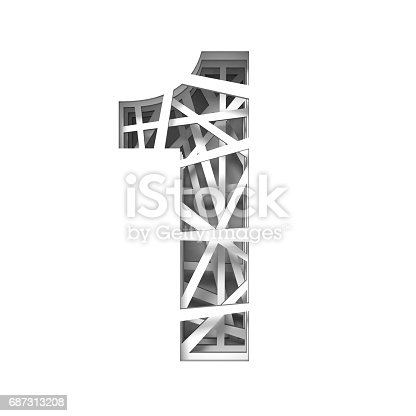 845307398 istock photo Paper cut out font number ONE 1 3D 687313208