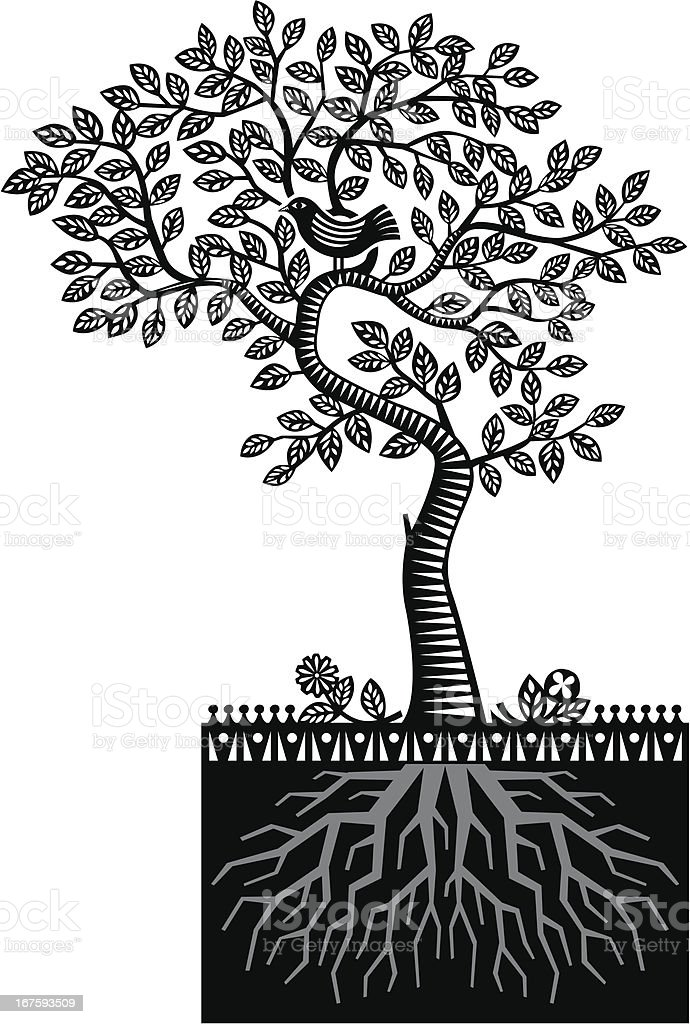 Paper cut tree roots royalty-free paper cut tree roots stock vector art & more images of animal