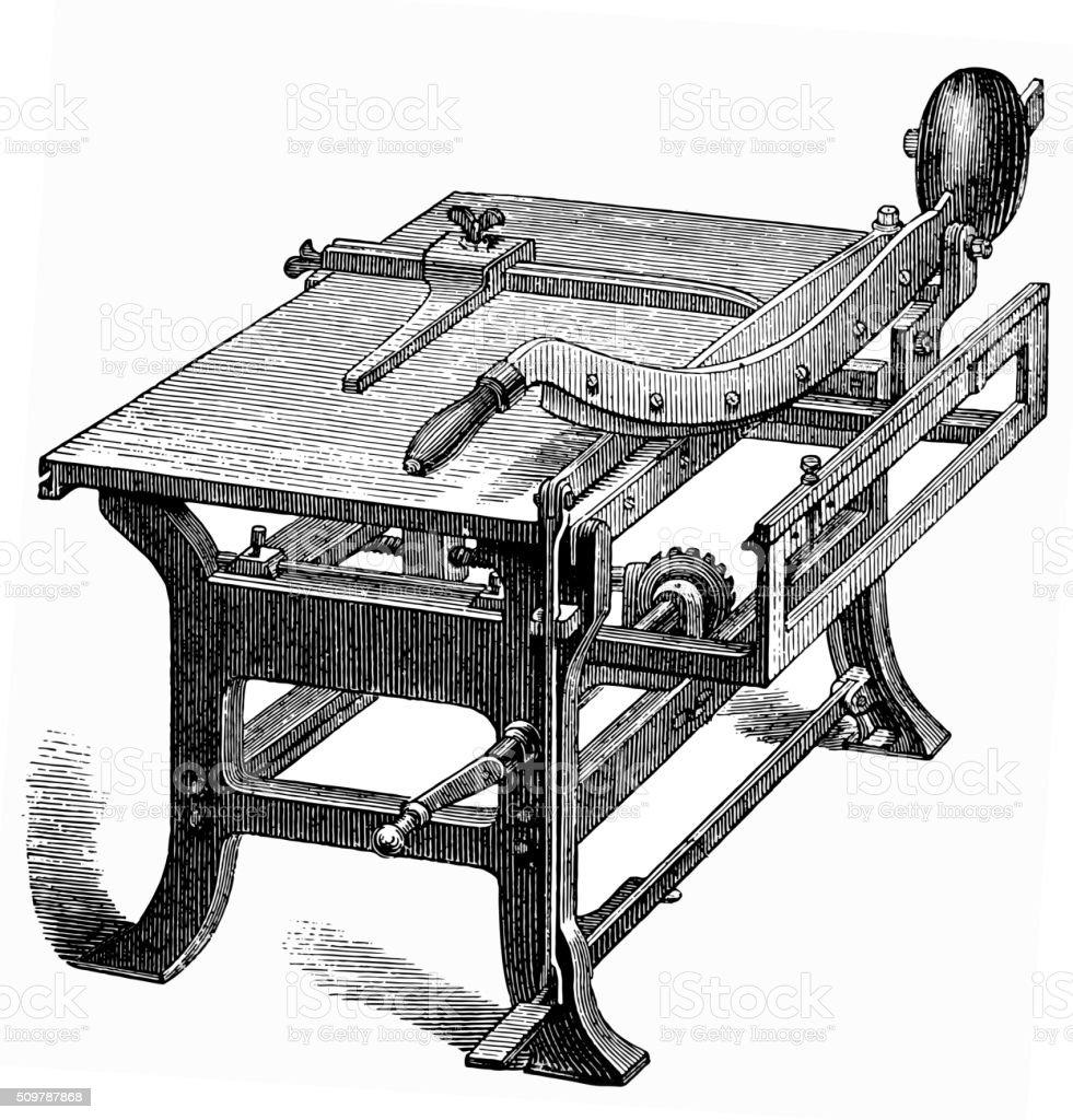 Paper cutting machine vector art illustration
