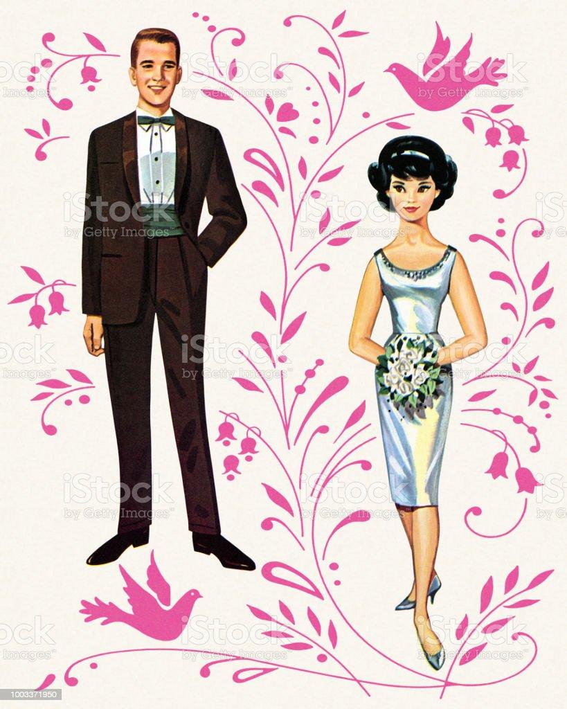 Paper Doll Braut Und Brautigam Lizenzfreies Stock Vektor Art Mehr