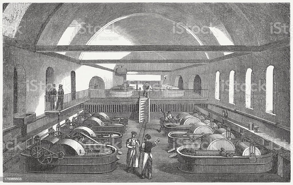 Paper factory, washing and bleaching, wood engraving, published in 1876 vector art illustration