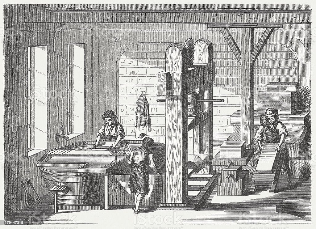Paper manufacture in the past, wood engraving, published in 1876 vector art illustration