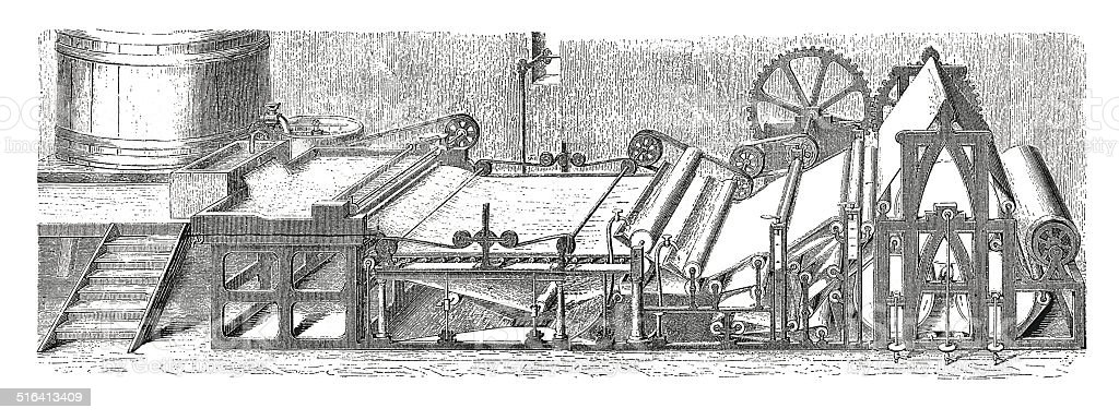 Paper manufacturing process (antique engraving) vector art illustration