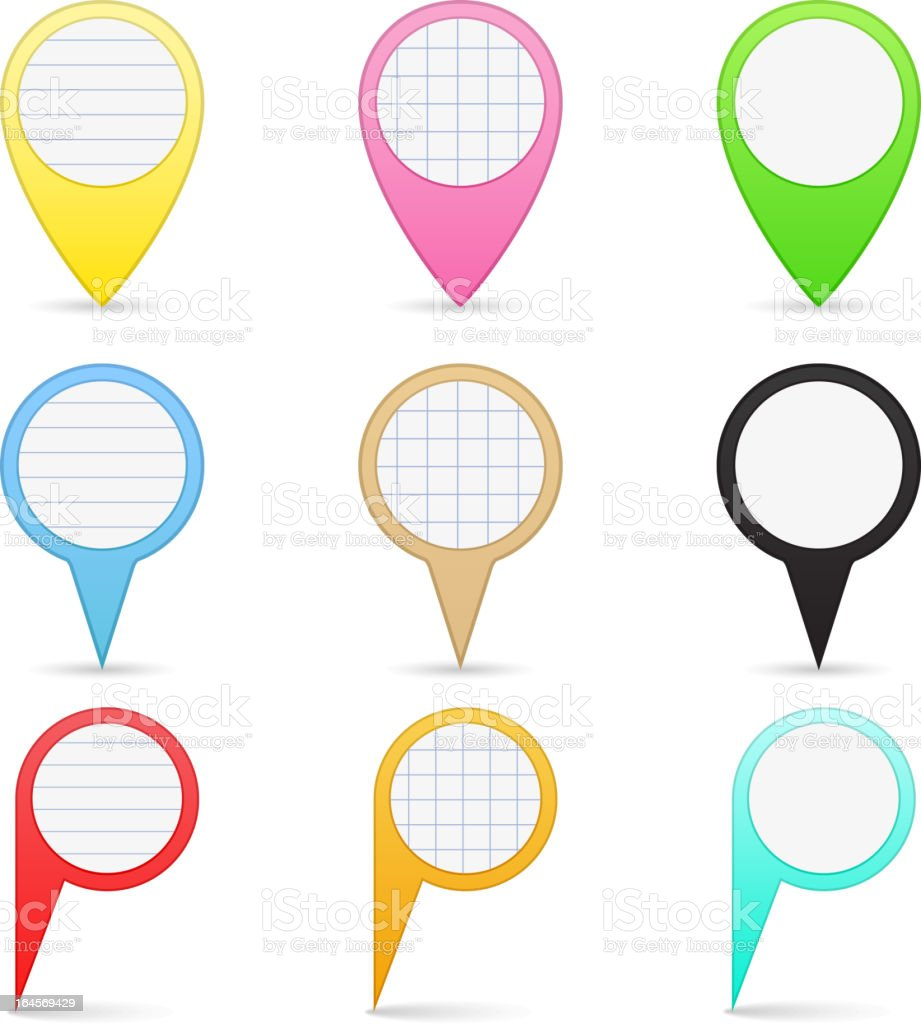 Paper Map Markers royalty-free stock vector art