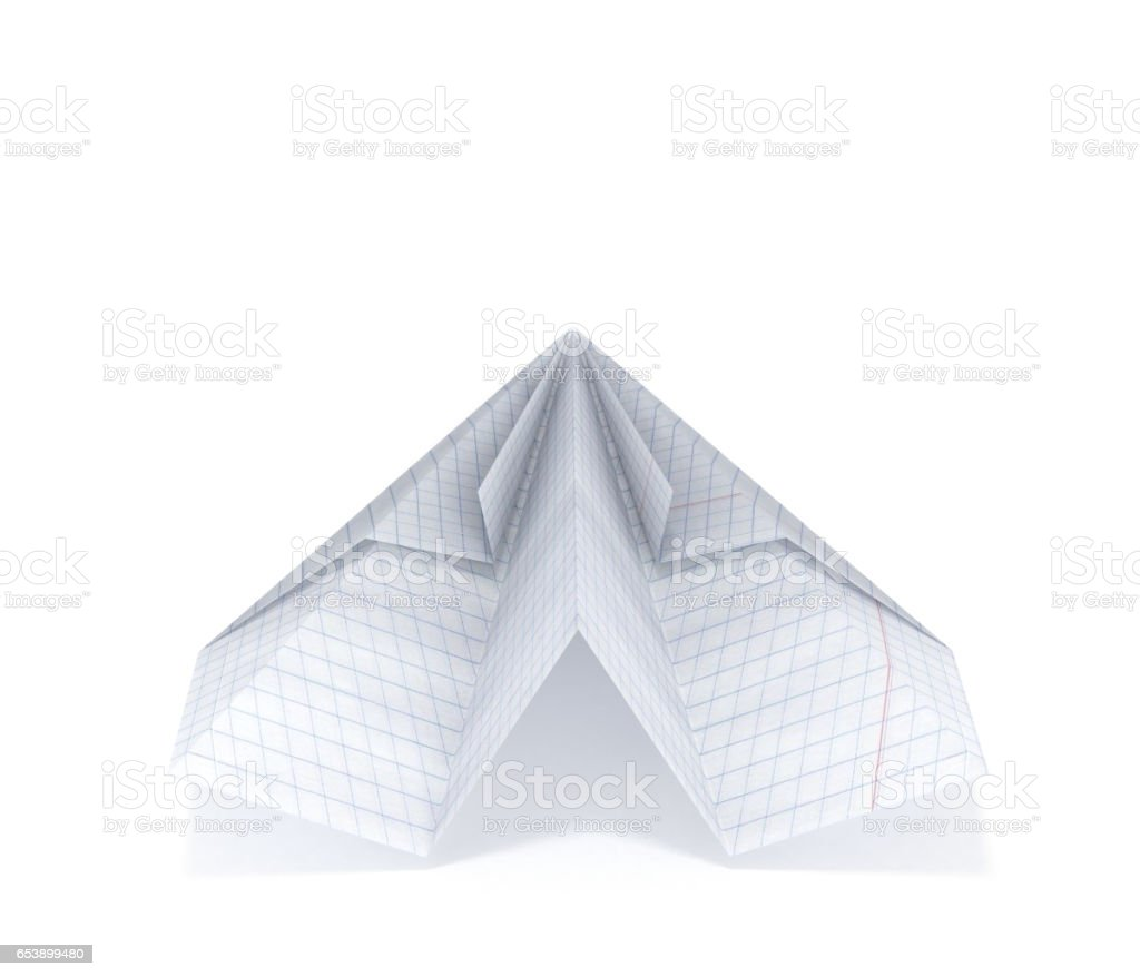 Paper Plane Made With Graph Paper Isolated On White Background 3d ...