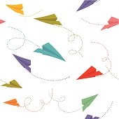 Paper planes with traces. Seamless pattern. Global colors used.