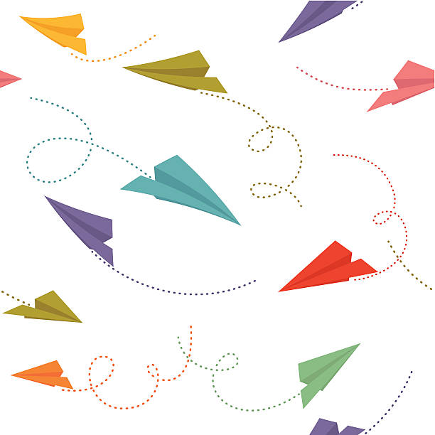 Paper planes seamless pattern Paper planes with traces. Seamless pattern. Global colors used. paper airplane stock illustrations