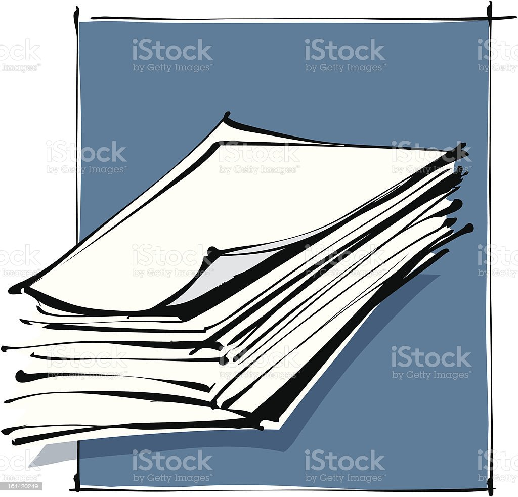 paper sheets stack freehand drawing royalty-free stock vector art