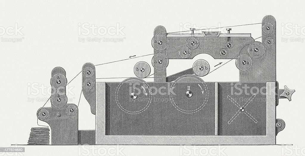 Paperboard machine, wood engraving, published in 1877 vector art illustration