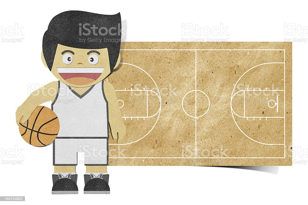 Paperboy  ( basketball player ) recycled papercraft royalty-free stock vector art