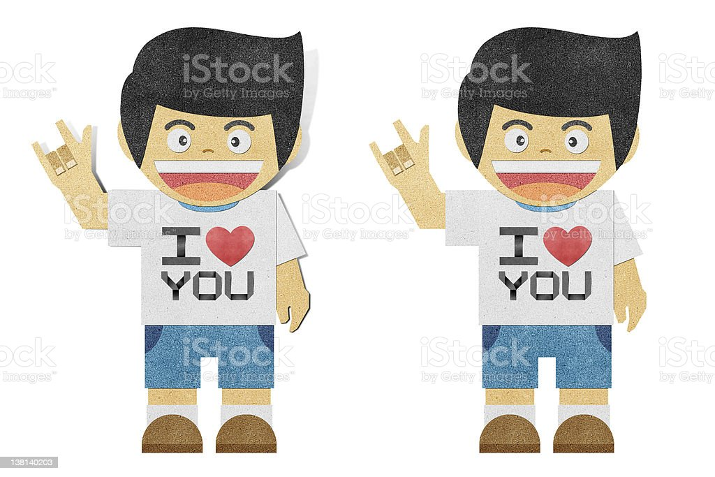 Paperboy with i love you alphabet recycled paper craft royalty-free stock vector art