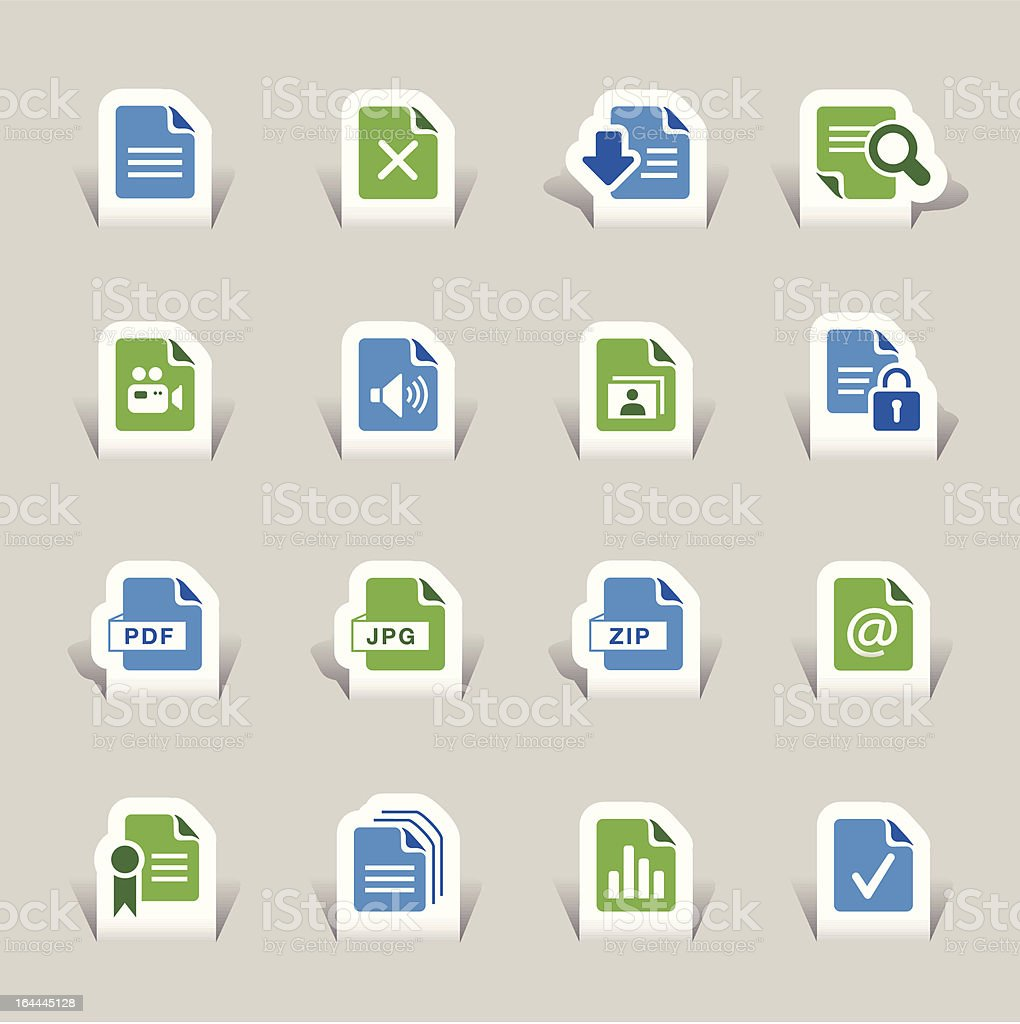 Papercut - File format icons royalty-free stock vector art