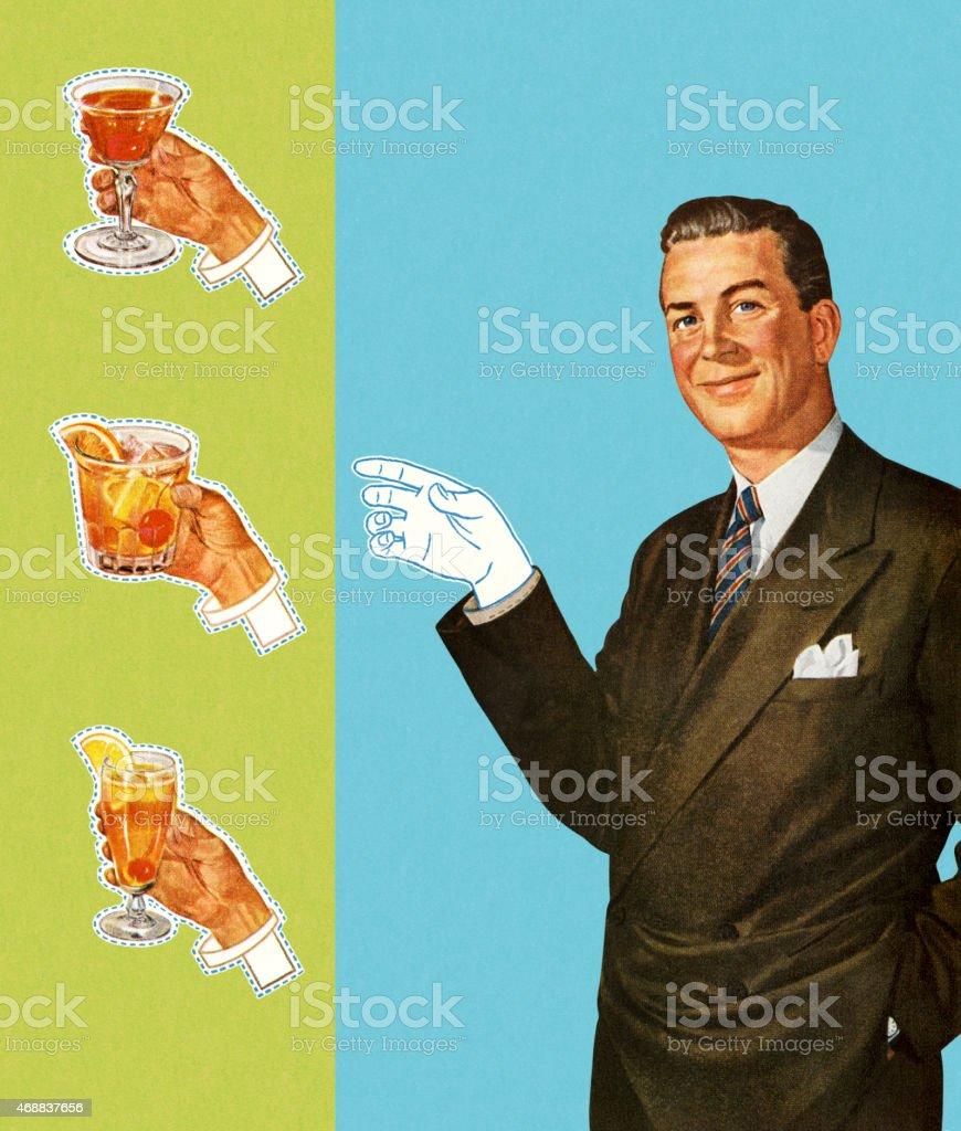 Paperdoll Man Holding Cocktails vector art illustration