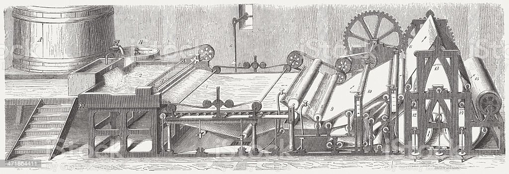 Papermaking, endless roll of paper, wood engraving, published in 1876 vector art illustration