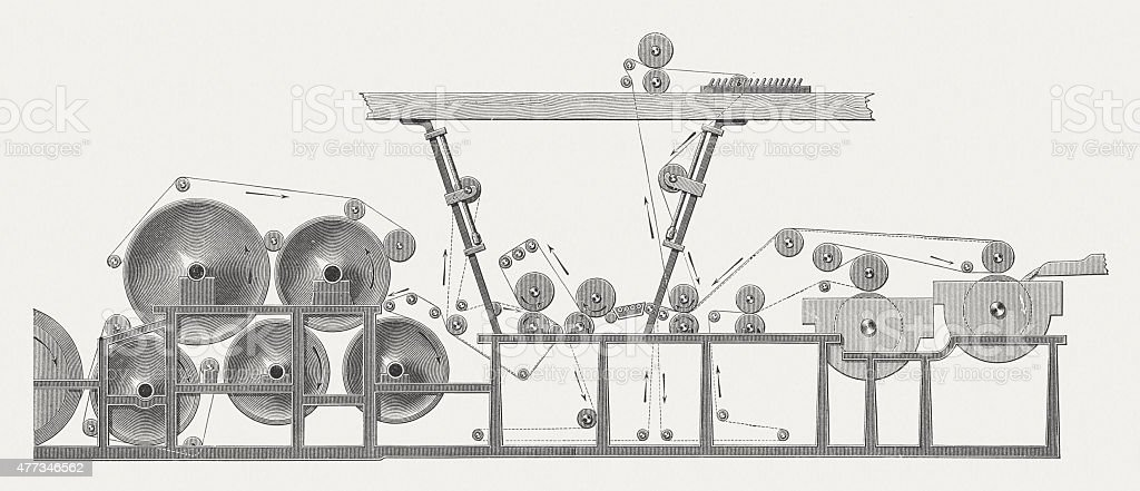 Papermaking machinery, wood engraving, published in 1877 vector art illustration