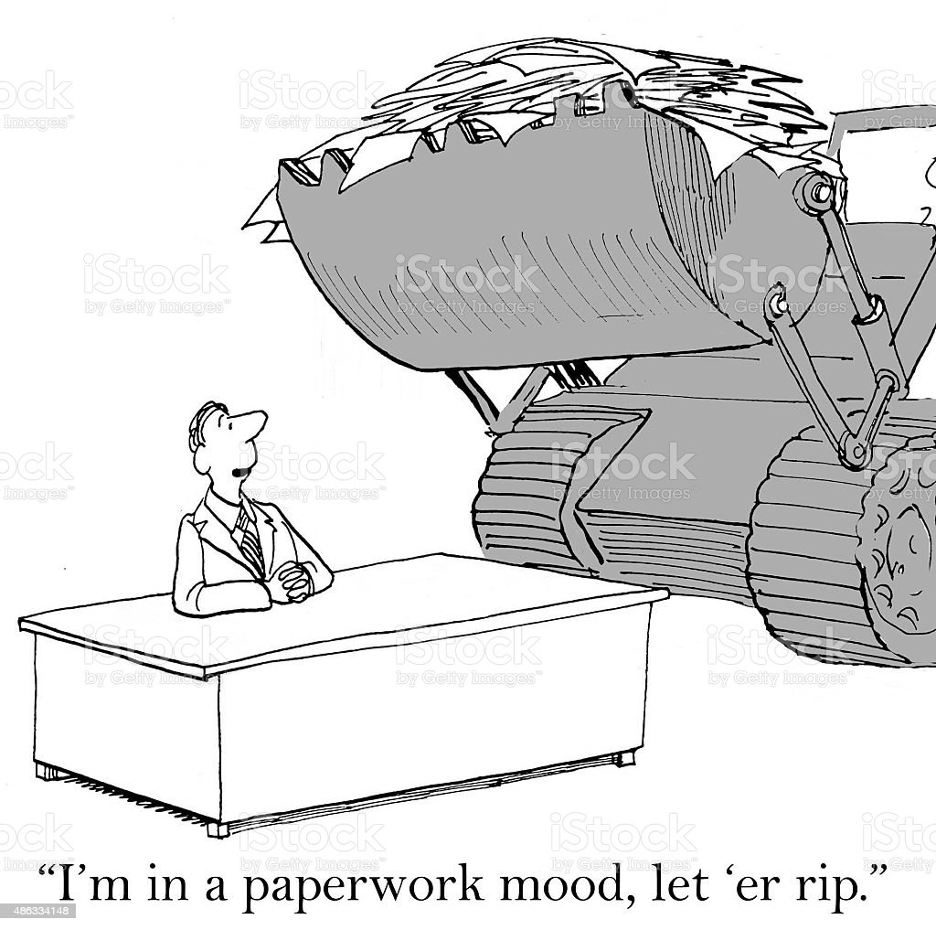 Paperwork Mood vector art illustration