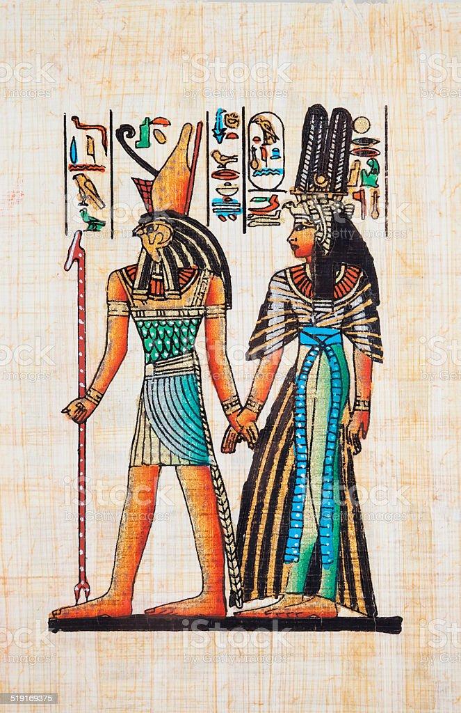 Papyrus Depicting Horus and Queen Nefertiti vector art illustration