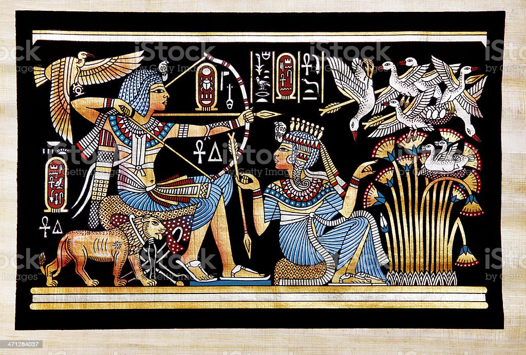 Papyrus Depicting Tutankhamon Hunting Birds vector art illustration
