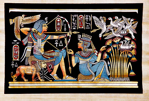 Papyrus Depicting Tutankhamon Hunting Birds King Tut had many pictures describing his love to hunting; in this papyrus painting we can see him sitting on his chair and using his bow to hunt birds. Also we can see his wife Ankhesenamun in front of him giving him the arrows and helping him to find the birds in the lotus flowers, artist unknown (circa 1300BC). ancient egyptian culture stock illustrations