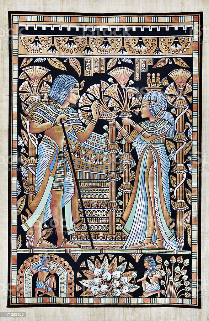Papyrus Depicting Tutankhamun and His Wife Ankhesenamun vector art illustration