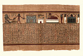 Vintage illustration from the Papyrus of Ani a papyrus manuscript in the form of a scroll with cursive hieroglyphs and color illustrations that was created c. 1250 BCE, during the Nineteenth Dynasty of the New Kingdom of Ancient Egypt. Seated male with emblem of endless years in his right han and on his head, his left ahnd above the Eye of Horus