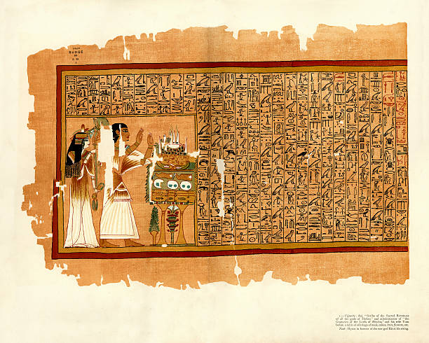 papyrus of ani - book of the dead - tonatiuh stock illustrations, clip art, cartoons, & icons