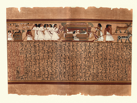 Papyrus of Ani, Funeral procession, Mummy on boat hearse