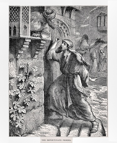 A man pleads with his neighbor for bread at nighttime.  Jesus taught the parable to show how to be persistent in prayer petitions to God. Illustration published in The Life of Christ by Louise Seymour Houghton (American Tract Society: New York) in 1890. Copyright expired; artwork is in Public Domain. Digitally restored.